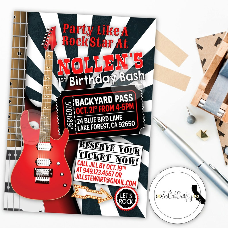 Rock And Roll Birthday Party Invitation Guitar Star