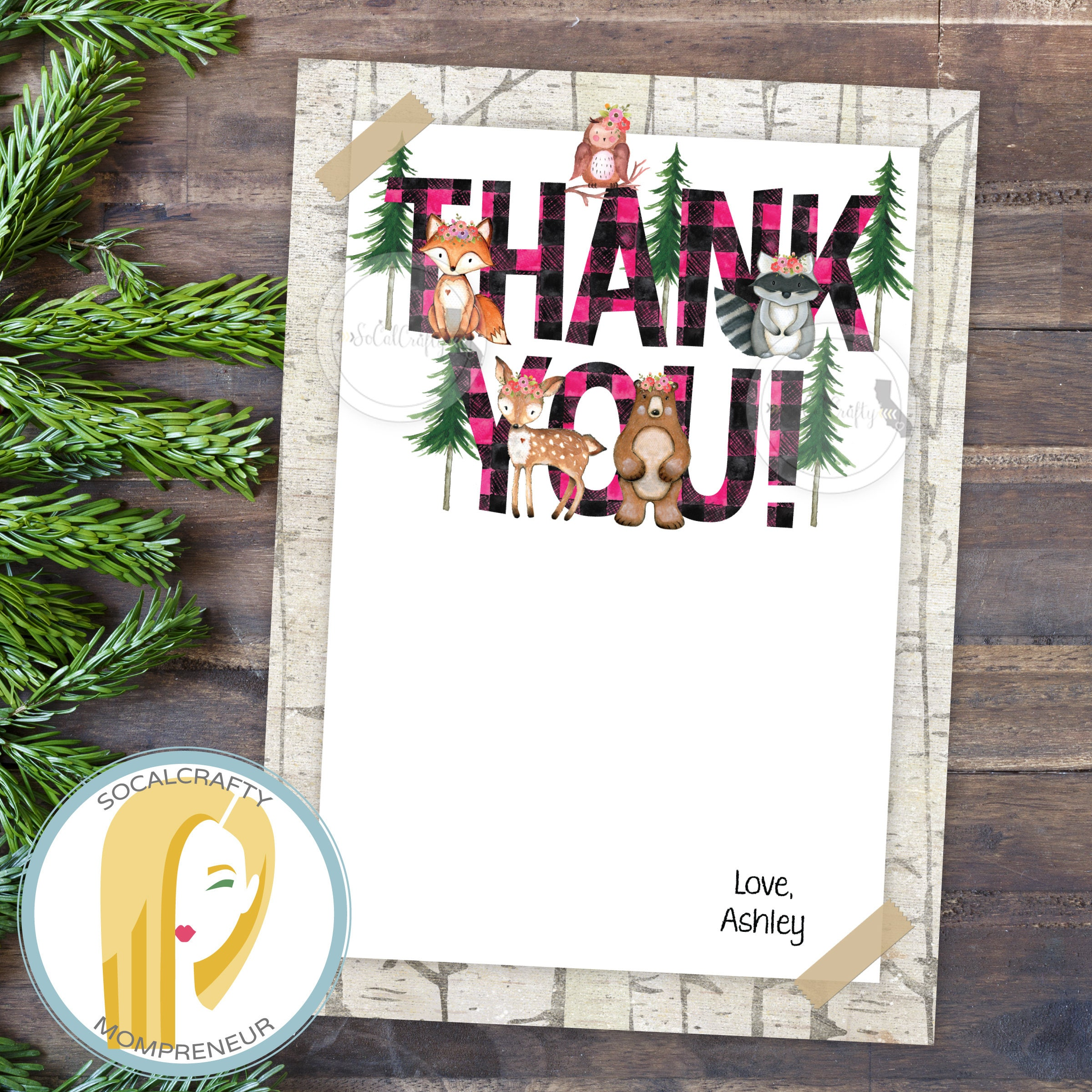 Woodland Birthday Party Thank You Card Lumberjack Thank You Etsy
