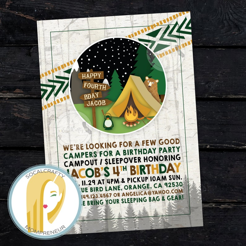 graphic relating to Free Printable Camping Birthday Party Invitations called Undergo Birthday Get together Invitation, Camp Invite, Tenting, Campout, Woods, Campfire, Sleepover, Published or Printable Invites, No cost Transport