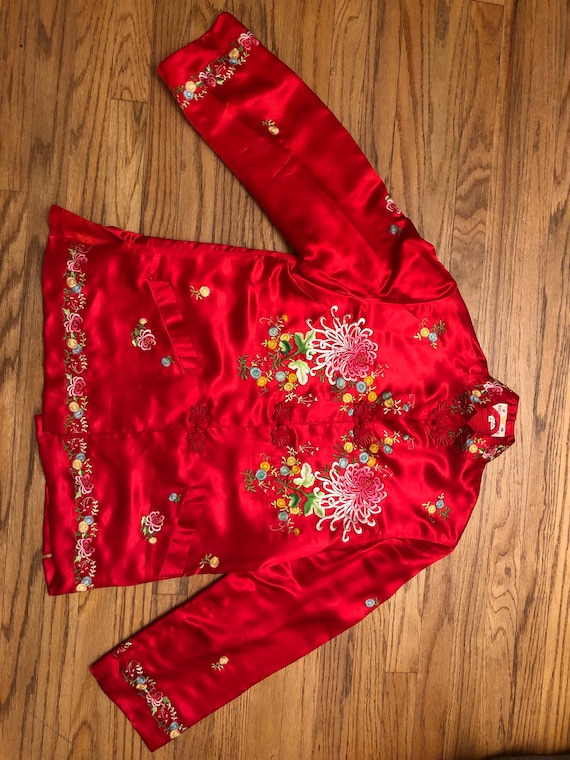 Vintage Red Silk Chinese Embroidered Jacket Size M