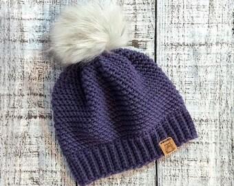 8b018615532 Purple Sophia faux fur pom hat - READY TO SHIP