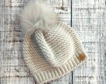46fa837959f Blissful birch chunky Sophia faux fur pom hat - READY TO SHIP