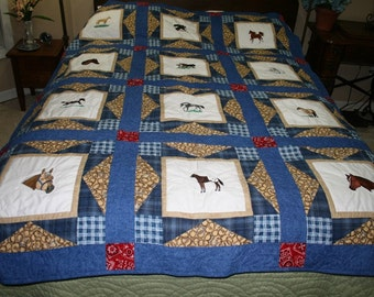 Embroidered Horses Throw and Wall Hanging