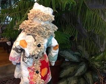 Flower Garden Quilt Santa Doll with Stand