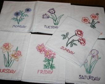 Flowers Days of Week Dish Towels