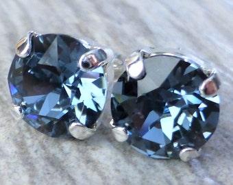 Navy Blue Swarovski Stud Earrings, Crystal Rhinestone Stud Earrings, Post Earrings, Silver Round Crystal Studs, Bridesmaid Gifts, Gift