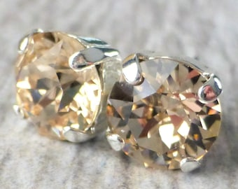 Swarovski Stud Earrings, Silk Champagne Crystal Rhinestone Stud Earrings, Post Earrings, Silver Round Crystal Studs, Bridesmaid Gifts