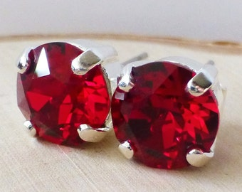 Red Swarovski Stud Earrings, Siam Crystal Rhinestone Stud Earrings,  Post Earrings, Silver Round Crystal Studs, Bridesmaid Gifts