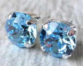 Aquamarine Swarovski Stud Earrings, Blue Crystal Rhinestone Studs, Post Earrings, Silver Round Crystal Studs, Gift for Her, Bridesmaids