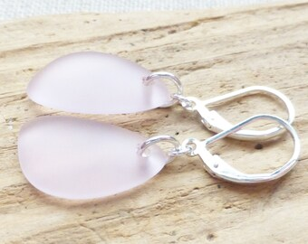 Sea Glass Earrings, Pink Seaglass Earrings, Sea Glass Jewelry, Pastel Pink Sea Glass Dangle Earrings, Ocean, Beach Jewelry, Gift For Her