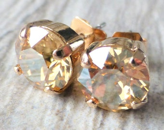 Golden Champagne Swarovski Stud Earrings, Crystal Rhinestone Rose Gold Studs, Rose Gold Round, Diamond Cut, Gift for Her, Bridesmaid Gifts