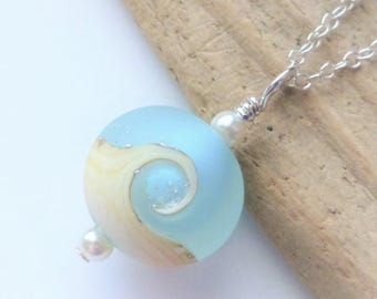 Beach Necklace, Ocean Wave Jewelry, Small Charm Necklace, Lampwork Sea Glass Necklace, Beach Wedding, Gift for Her, Sterling Silver