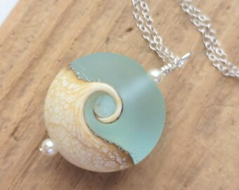 Wave Necklace, Beach Necklace, Lampwork Sea Glass Necklace, Ocean Necklace, Beach Jewelry, Beach Wedding Jewelry, Gift for Her