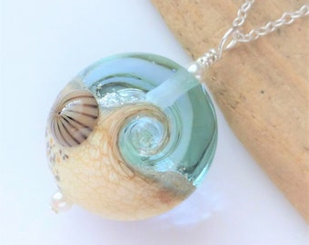 Beach Wave Necklace, Glass Lampwork Pendant, Ocean Jewelry, Beach Jewelry, Gift for Her, Beach Wedding, Gifts, Sea Glass, Handmade