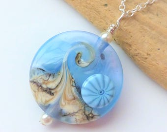 Beach Necklace, Ocean Wave Jewelry, Light Blue Wave Necklace, Lampwork Glass Necklace, Beach Wedding, Gift for Her, Sterling Silver