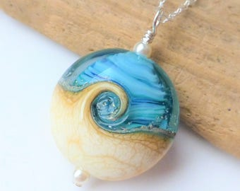 Beach Necklace, Aqua Blue Ocean Wave Lampwork Glass Pendant, Beach Jewelry, Beach Wedding, Gift For Her, Bridesmaid Gifts, Christmas Gift