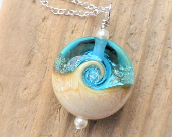Beach Necklace, Ocean Wave Necklace, Teal Blue Lampwork Pendant Necklace, Teal Glass, Beach Jewelry, Beach Wedding Jewelry, Gift for Her