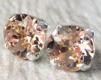 Blush Rose Swarovski Stud Earrings, Crystal Rhinestone Stud Earrings, Light Rose Post Earrings, Silver Round Crystal Studs, Bridesmaid Gifts