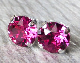 Magenta Swarovski Stud Earrings, Crystal Rhinestone Stud Earrings, Fuchsia Prism Post Earrings, Silver Round Crystal Studs, Gift for Her