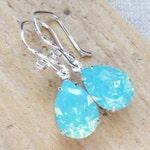 Seafoam Opal Swarovski Crystal Earrings, Aqua Blue Rhinestone Pear Earrings, Sterling Silver Teardrops, Bridesmaid Gifts, Beach Wedding
