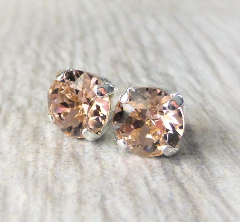 5b084ae96 Blush Rose Swarovski Stud Earrings Crystal Rhinestone Stud | Etsy