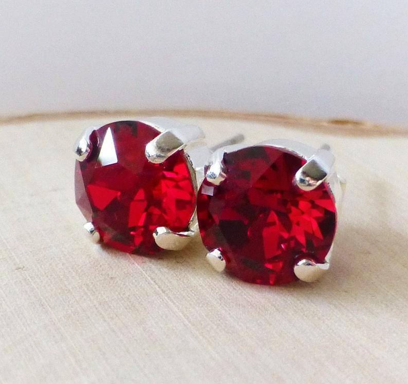 5f509234a Red Swarovski Stud Earrings Siam Crystal Rhinestone Stud | Etsy