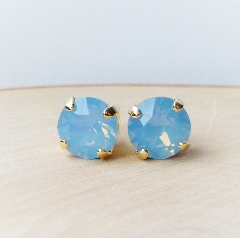 084eceba928b Blue Opal Swarovski Stud Earrings Crystal Rhinestone Stud