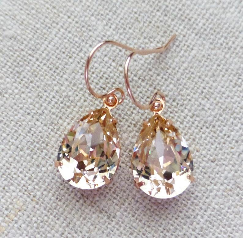 6d319126238da Champagne Swarovski Rose Gold Earrings, Silk Crystal Rhinestone Pear  Teardrop Earrings, Bridesmaid Gifts, Bridal Jewelry, Wedding