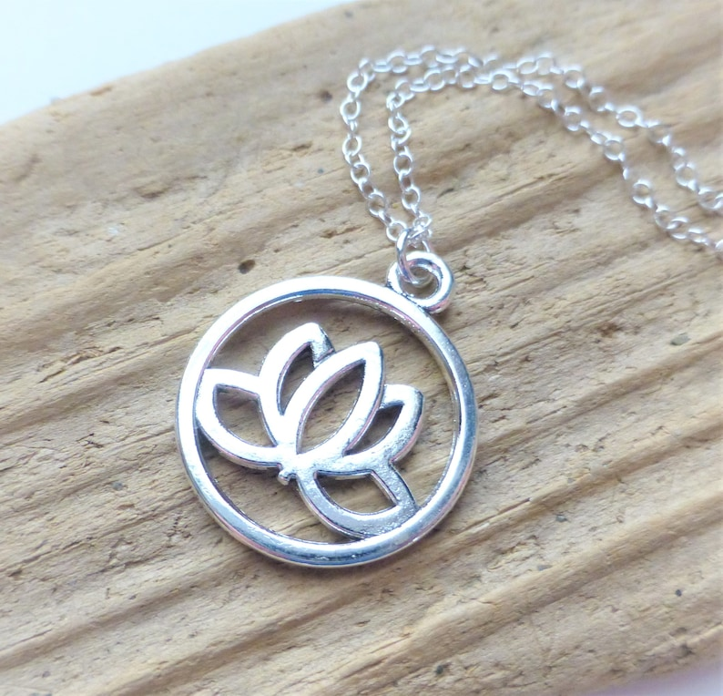 Lotus Flower Necklace Silver Lotus Charm Necklace Yoga Etsy