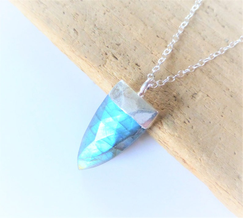 Small Blue Labradorite Pendant Necklace Sterling Silver Chain Electroplated Silver Pendant Gemstone Triangle Necklace Layering Necklace