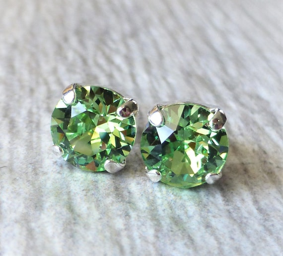 agreatvarietyofmodels shop for beautiful style Peridot Green Swarovski Stud Earrings, Crystal Rhinestone Stud Earrings,  Post Earrings, Silver Round Crystal Studs, Bridesmaid Gifts, Gift