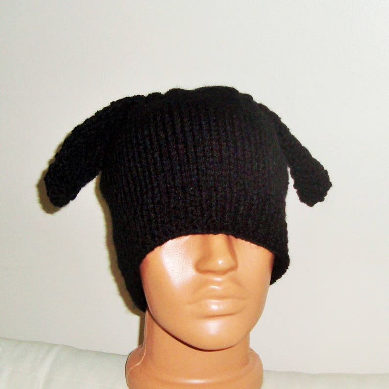 c8d604d8b91 Black Beanie Hat with Dog Ears For Mens Or Womens Hand Knit