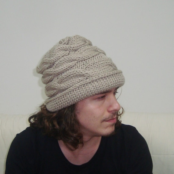 fe2c5afa22f Mens Hats Fedora Winter Wooly Slouchy Beige Hand Knitted