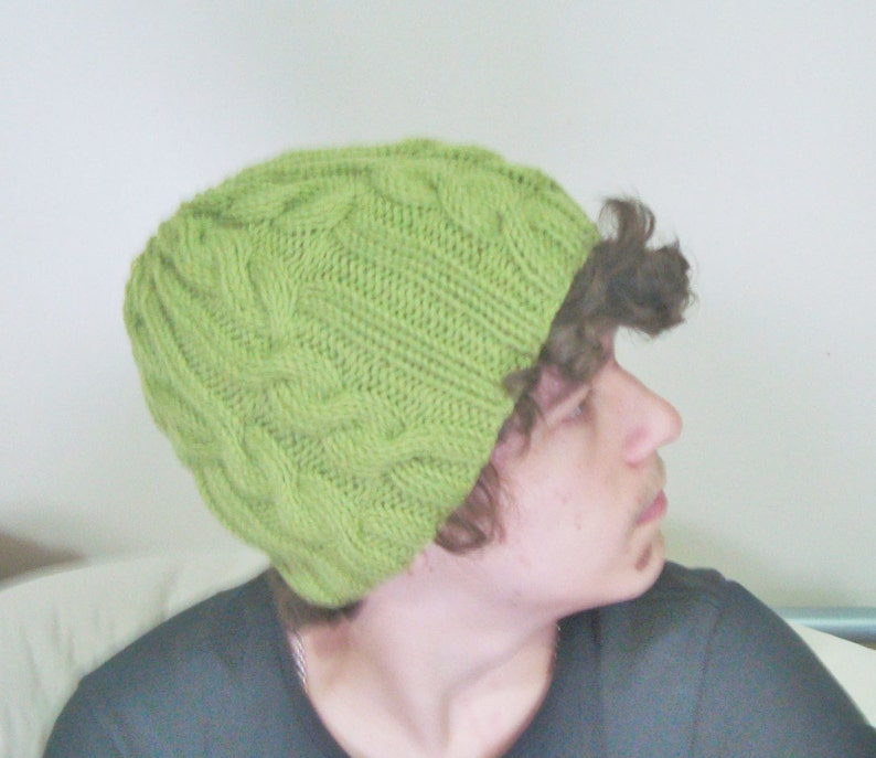 9d6aa01f4de Hand Knit Hat Green Mens Hat beanie winter cable knit hat for