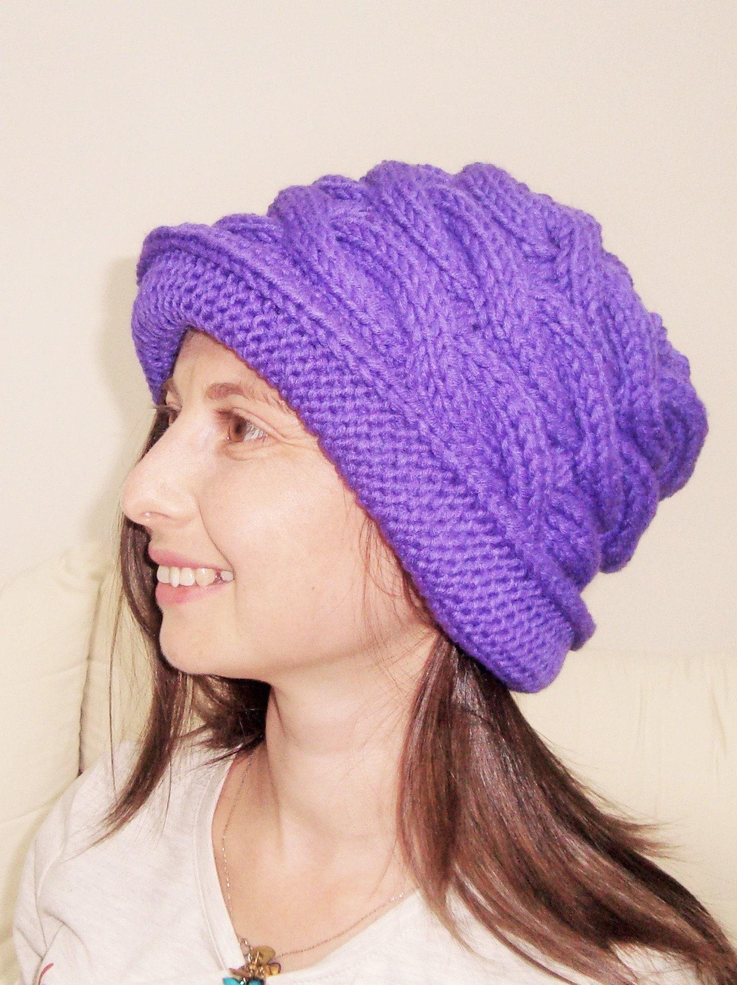 A mano a maglia cappello donne Cappello Cloche viola in  28b15e605b4f