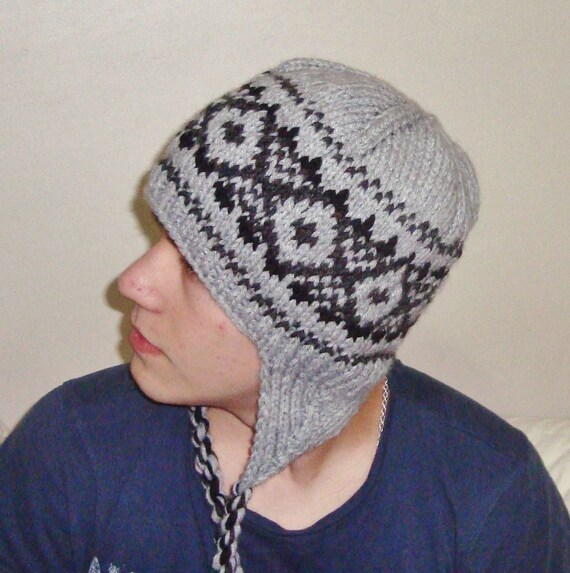 98f31354d8 Hand Knit Hat Mens Hats Winter Hat With Ear Flaps in Gray | Etsy