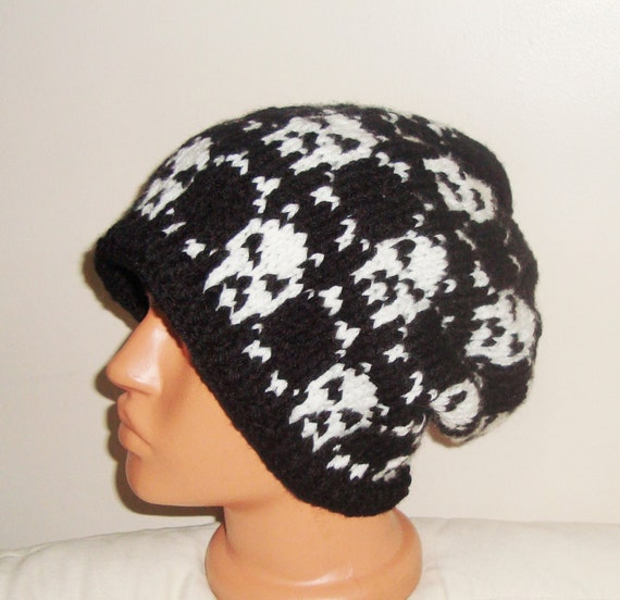 fd04a690ce6d5 Black with skull hat for men or women slouchy beanie hand