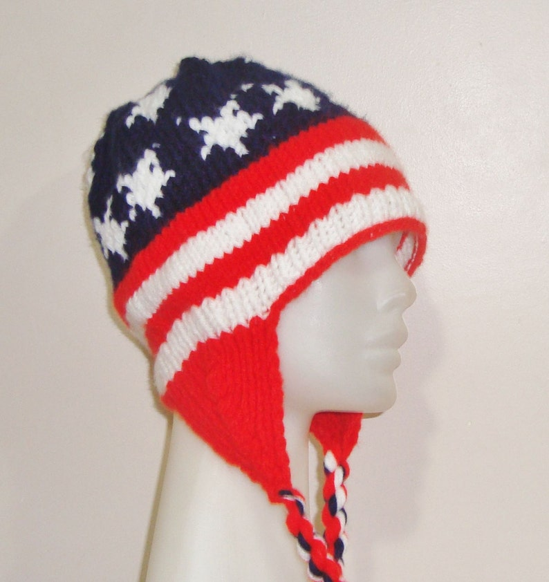 cecc66123f5 American flag hat women men ear flap hat winter hand knit