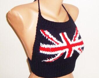 Knit British Flag, Festival clothing, festival top, union jack flag, Women's Tops birthday gift for womens gift for her english teacher gift