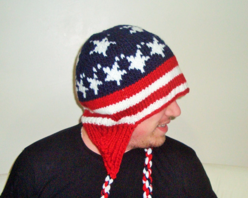 7054134aee8 American Flag Beanie Hat xl mens hat size 8 a blue with stars