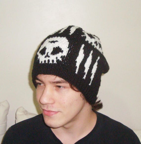 Hand Knit Skull Cap Skull Hat Women Skull Hats For Men  3b8e2029053