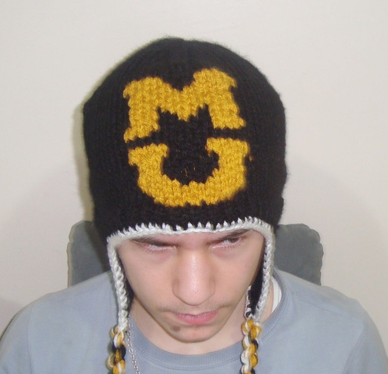 e10fe400a84ab Custom Knit Hat Ear flaps Mizzou Tigers Hat M U Letter Hat