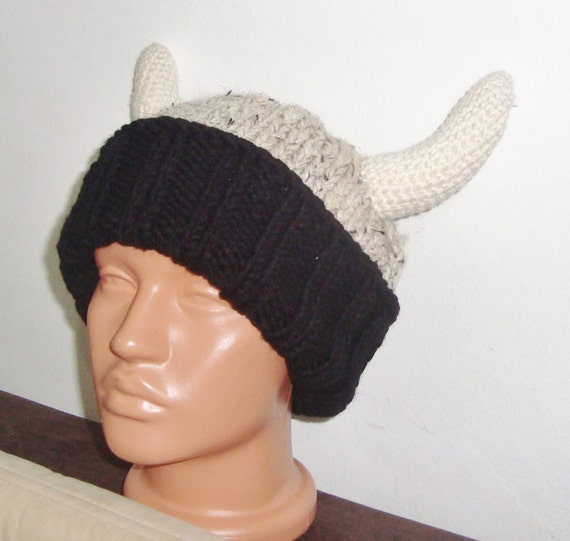 37aae0662 Hand Knit Viking Hat Adult Man Winter in Beige, Black, Cream Horns with  wide brim hats