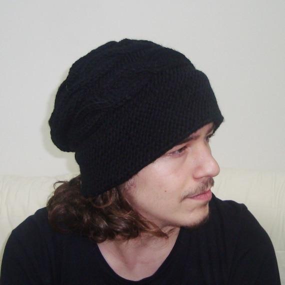 eb4eaedf4ea Mens Hats Winter Knit Unique Fedora Slouchy Beanie in Black