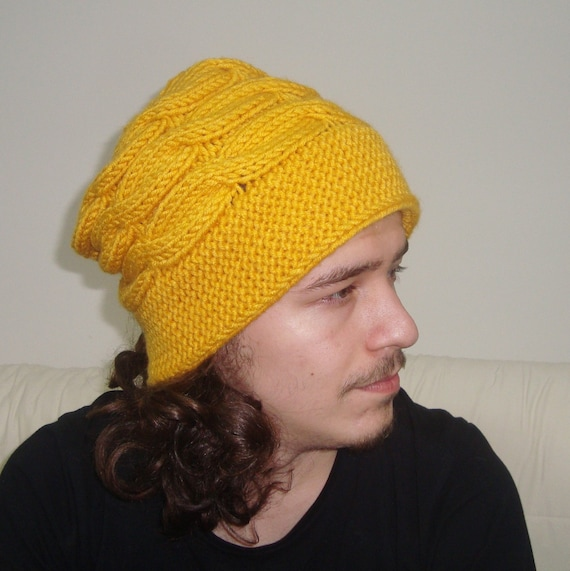 Mens Hats Winter Knit Unique Fedora Slouchy Beanie in Mustard  f3e21361b33