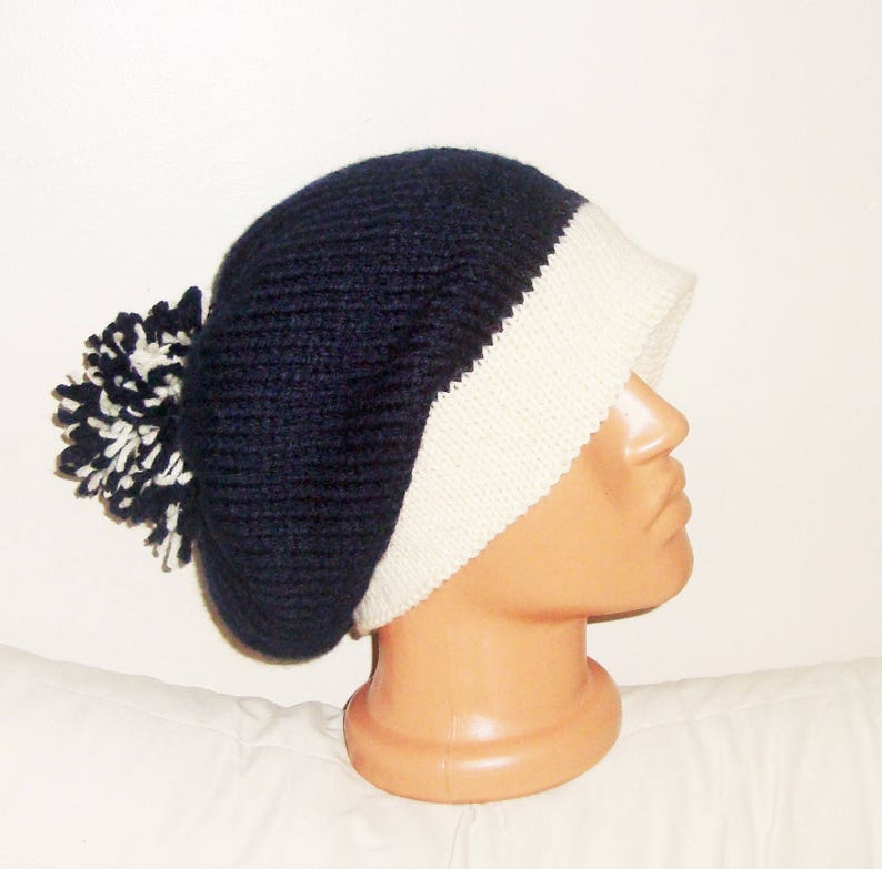 7365b2dc0d Hand Knit Hat Women Navy Blue Slouchy Beanie Hat With Ivory