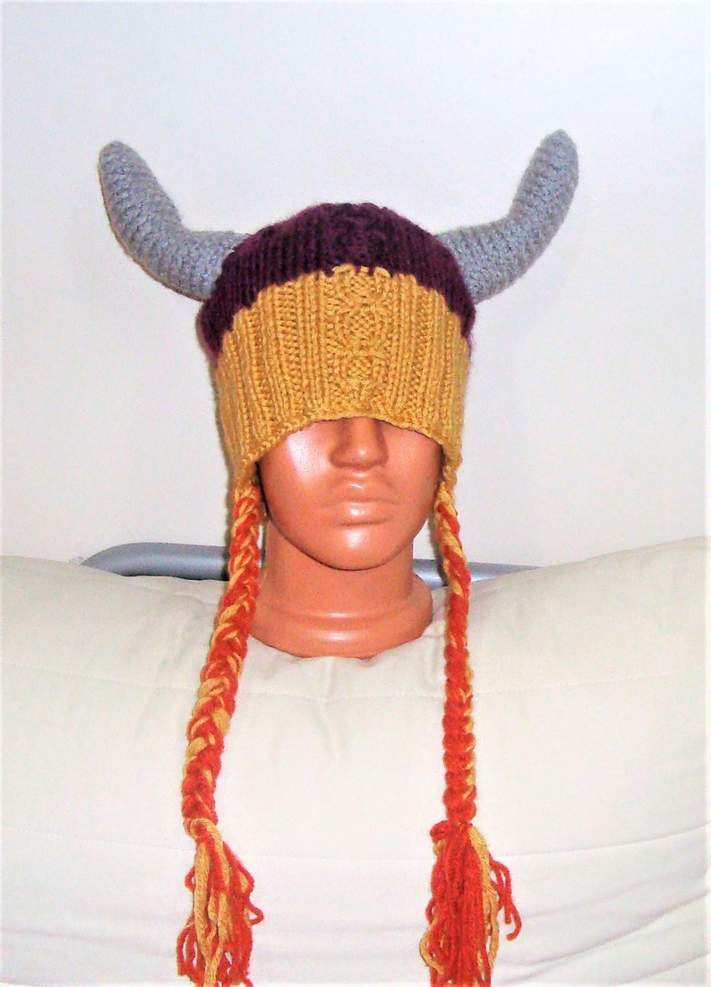 7625df2f2 Hand Knit Viking Hat Adult Man Woman Winter in Purple, Mustard, Gray Horns  with braids hats viking gift for him ready to ship