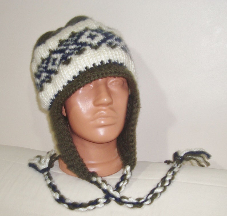 mens hat winter hat hats ear flap hat Earflap Hat GREEN Knit Hat male hat green beanie large Knitted hat Gift for him