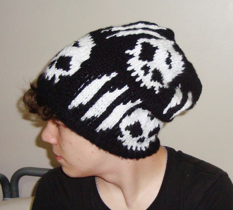 51c028071ac Hand knit skull concert beanie hat for teen white skull hat