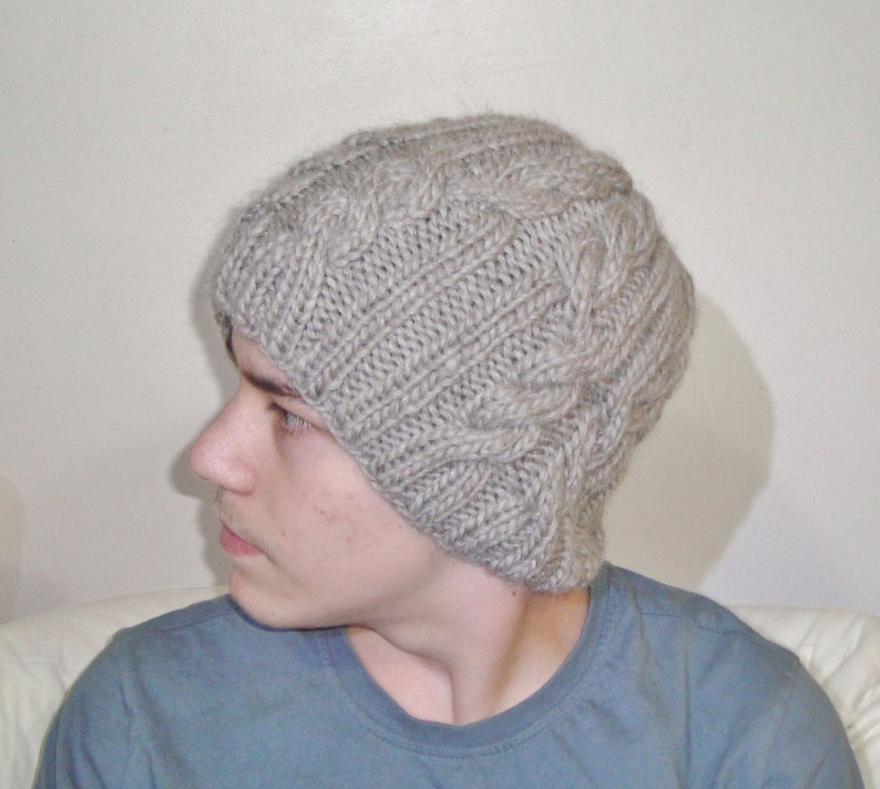 Hand Knit Beanie Hat Men Winter Cable Knit Beret Ecru Beige Mens Gift ideas for Birthday
